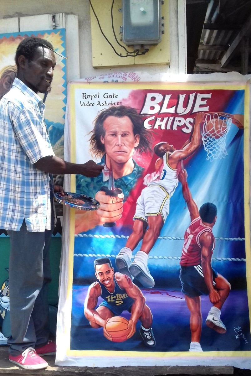 "Stoger with a poster that makes me actually want to watch ""Blue Chips."" Courtesy of Brian Chankin"
