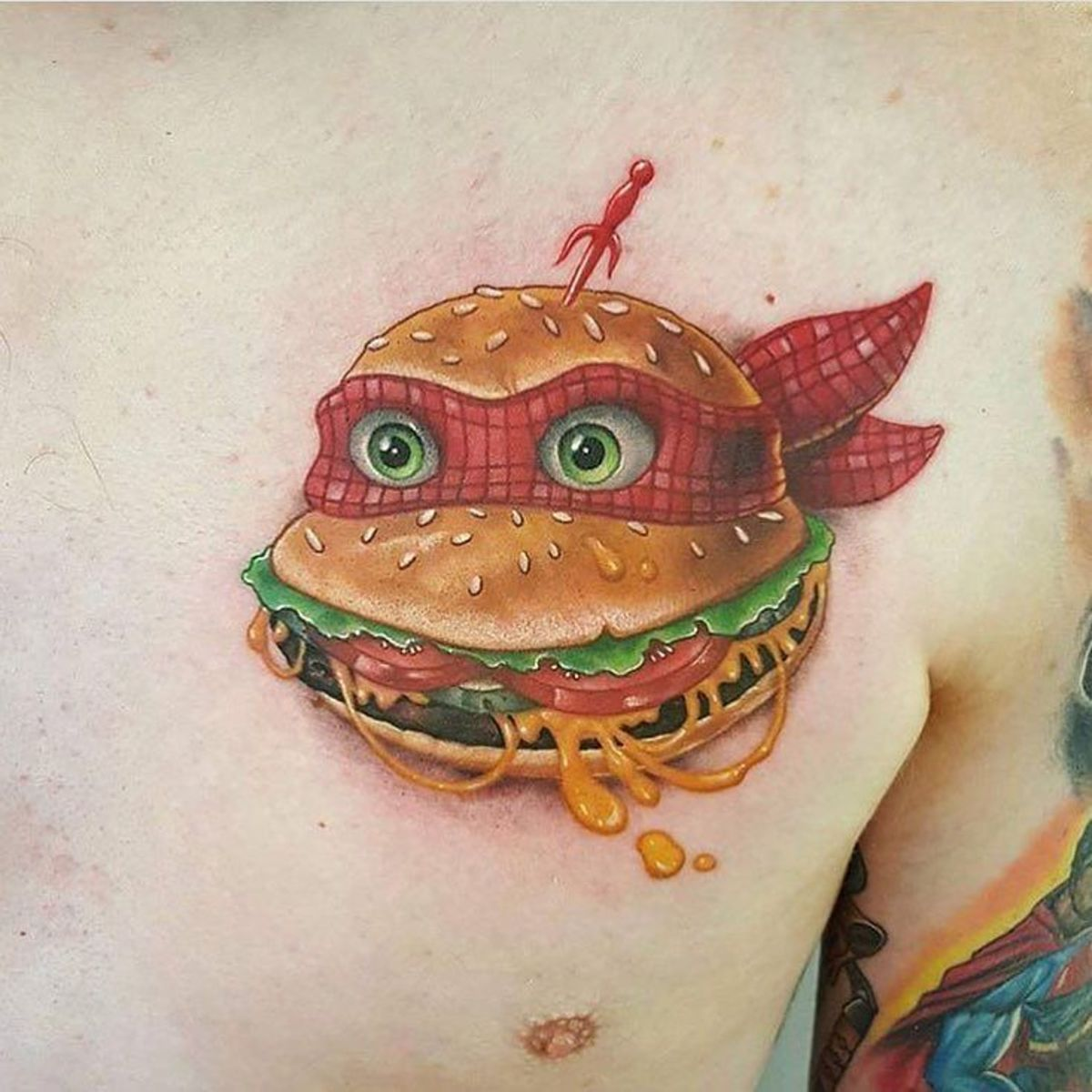 I thought the Ninja Turtles liked pizza? Tattoo by Nick Peirce.