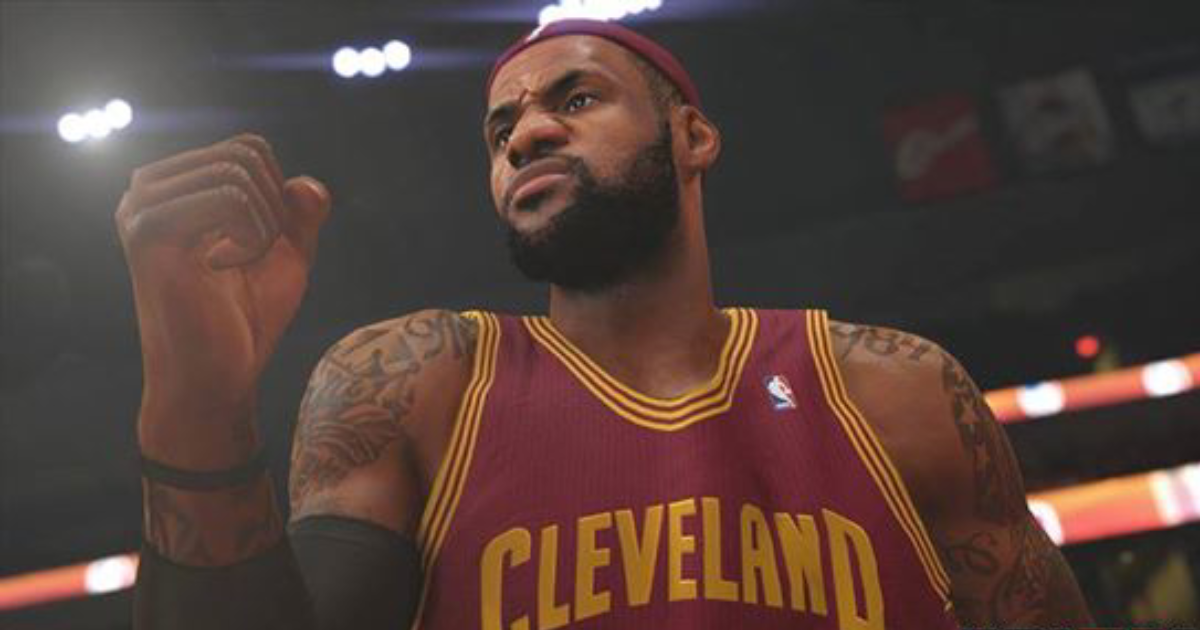 A screen grab from NBA 2K14 showing Lebron and his famous tattoos.